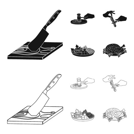 Cutlass on a cutting board, hammer for chops, cooking bacon, eating fish and vegetables. Eating and cooking set collection icons in black,outline style vector symbol stock illustration . Illustration