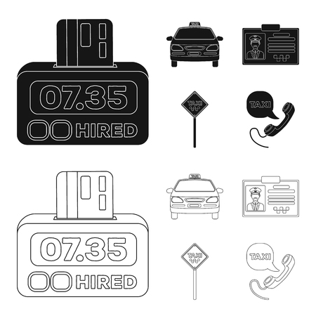 The counter of the fare in the taxi, the taxi car, the driver badge, the parking lot of the car. Taxi set collection icons in black,outline style vector symbol stock illustration web.