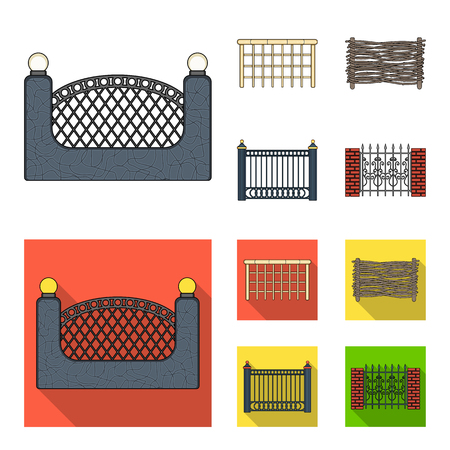 A fence of metal and bricks,wooden palisade. A different fence set collection icons in cartoon,flat style vector symbol stock illustration web. Illusztráció