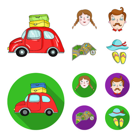 Travel, vacation, camping, map .Family holiday set collection icons in cartoon,flat style vector symbol stock illustration web.