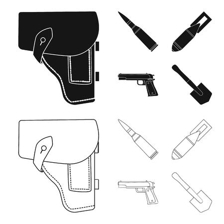 Holster, cartridge, air bomb, pistol. Military and army set collection icons in black,outline style vector symbol stock illustration web. Ilustração