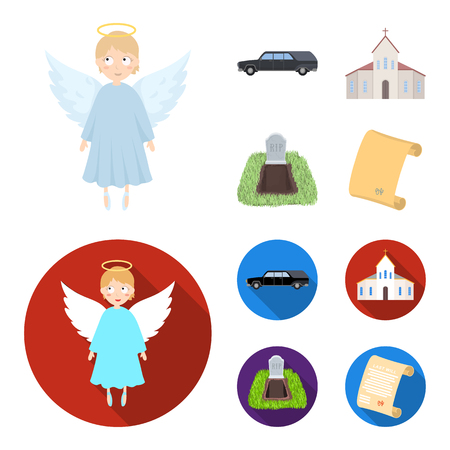 Black cadillac to transport the grave of the deceased, a church for a funeral ceremony, a grave with a tombstone, a death certificate. Funeral ceremony set collection icons in cartoon,flat style vector symbol stock illustration web.