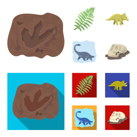 Sea dinosaur,triceratops, prehistoric plant, human skull. Dinosaur and prehistoric period set collection icons in cartoon,flat style vector symbol stock illustration web. Vettoriali