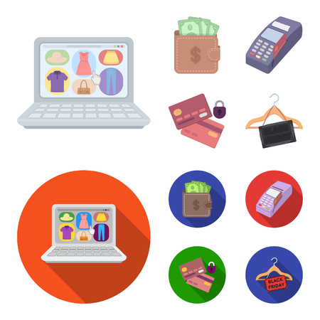Purse, money, touch, hanger and other equipment. E commerce set collection icons in cartoon,flat style vector symbol stock illustration web.