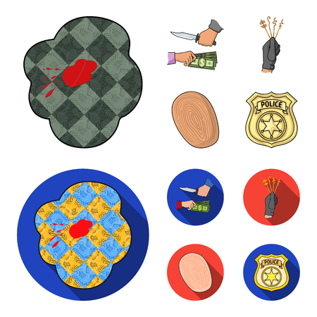 Robbery attack, fingerprint, police officer badge, pickpockets.Crime set collection icons in cartoon,flat style vector symbol stock illustration web.