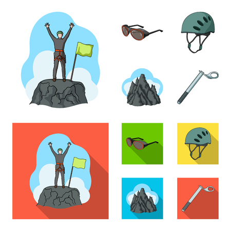 Helmet, goggles, wedge safety, peaks in the clouds.Mountaineering set collection icons in cartoon,flat style vector symbol stock illustration web.