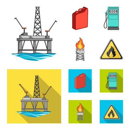 Canister for gasoline, gas station, tower, warning sign. Oil set collection icons in cartoon,flat style vector symbol stock illustration web. Vettoriali