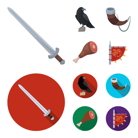 Sitting crow, horn with drink, ham, victory flag. Vikings set collection icons in cartoon,flat style vector symbol stock illustration web.
