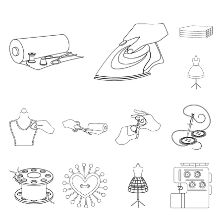 Atelier and equipment outline icons in set collection for design. Sewing of outer clothing vector symbol stock web illustration.