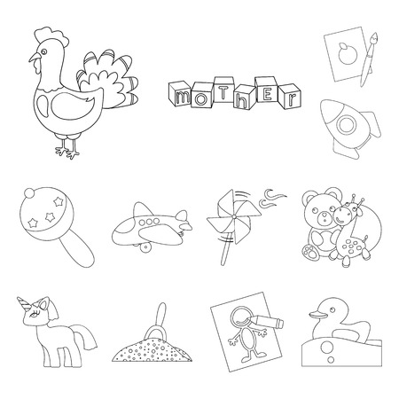 Children toy outline icons in set collection for design. Game and bauble vector symbol stock web illustration. Stock Illustratie