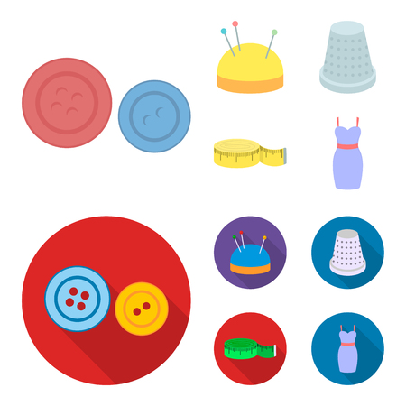 Pincushion with pins, thimble, centimeter, dress.Atelier set collection icons in cartoon,flat style vector symbol stock illustration web. Иллюстрация