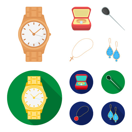 Ring in a case, hair clip, earrings with stones, a cross on a chain. Jewelery and accessories set collection icons in cartoon,flat style vector symbol stock illustration web.  イラスト・ベクター素材