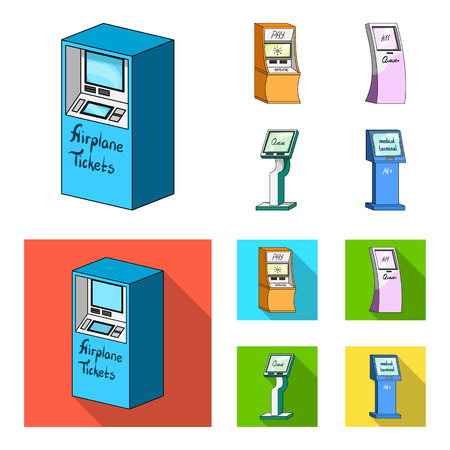 Medical terminal, ATM for payment,apparatus for queue. Terminals set collection icons in cartoon,flat style isometric vector symbol stock illustration web .