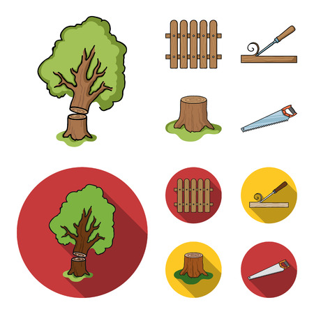 Fence, chisel, stump, hacksaw for wood. Lumber and timber set collection icons in cartoon,flat style vector symbol stock illustration web. Ilustrace