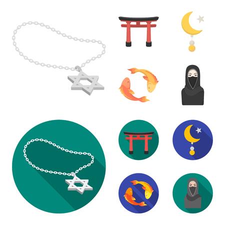 Torii, carpa koi, donna in hijab, stella e mezzaluna. La religione ha fissato le icone della raccolta nel fumetto, web piano dell'illustrazione delle azione di simbolo di vettore di stile.