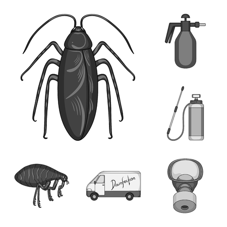 Pest, poison, personnel and equipment monochrome icons in set collection for design. Pest control service bitmap symbol stock web illustration. Archivio Fotografico