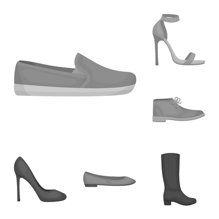 A variety of shoes monochrome icons in set collection for design. Boot, sneakers bitmap symbol stock web illustration. Stock Photo