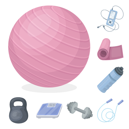 Gym and training cartoon icons in set collection for design. Gym and equipment bitmap symbol stock web illustration.