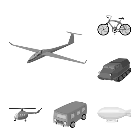 Different types of transport monochrome icons in set collection for design. Car and ship bitmap symbol stock web illustration. Archivio Fotografico - 107190362