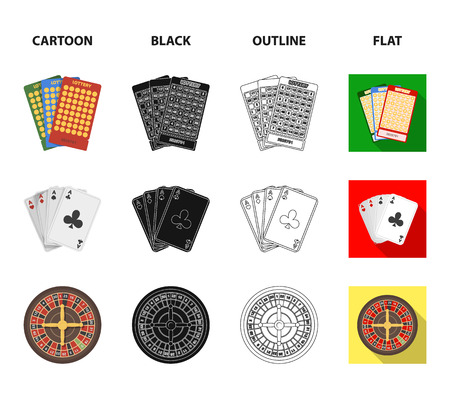 Jack sweat, a bag with money won, cards for playing Bingo, playing cards. Casino and gambling set collection icons in cartoon,black,outline,flat style bitmap symbol stock illustration web.