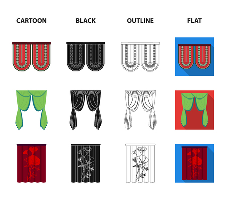 Curtains, stick, cornices, and other web icon in cartoon,black,outline,flat style.Bow, fabric, tulle icons in set collection. Foto de archivo