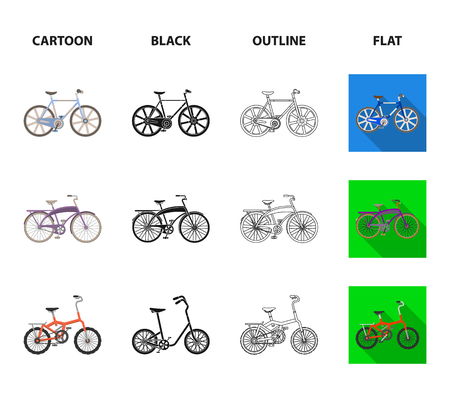 Childrens bicycle and other kinds.Different bicycles set collection icons in cartoon,black,outline,flat style bitmap symbol stock illustration web.