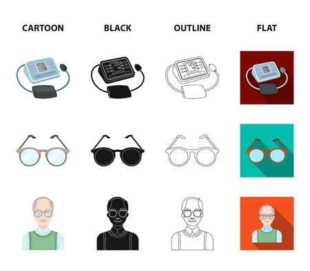 Lottery, hearing aid, tonometer, glasses.Old age set collection icons in cartoon,black,outline,flat style bitmap symbol stock illustration web. Stock Photo