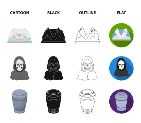 Coffin with a lid and a cross, a photograph of the deceased with a mourning ribbon, a corpse on the table with a tag in the morgue, death in a hood. Funeral ceremony set collection icons in cartoon,black,outline,flat style bitmap symbol stock illustration web. Stock Photo