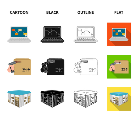 Transport aircraft, delivery on time, computer accounting, control and accounting of goods. Logistics and delivery set collection icons in cartoon,black,outline,flat style isometric bitmap symbol stock illustration web.