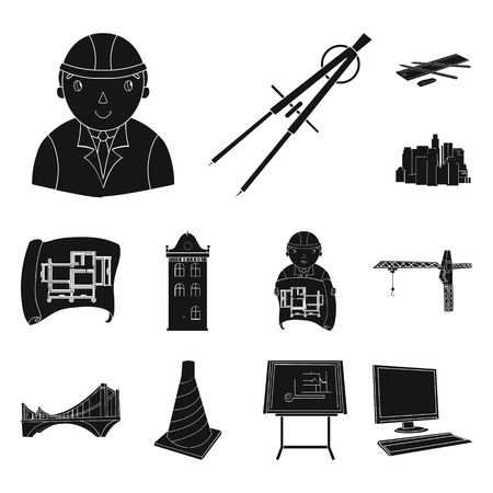 Architecture and construction black icons in set collection for design. Architect and equipment bitmap symbol stock web illustration.