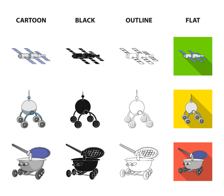 Radio radar, docking in space spacecraft, Lunokhod. Space technology set collection icons in cartoon,black,outline,flat style bitmap symbol stock illustration web.