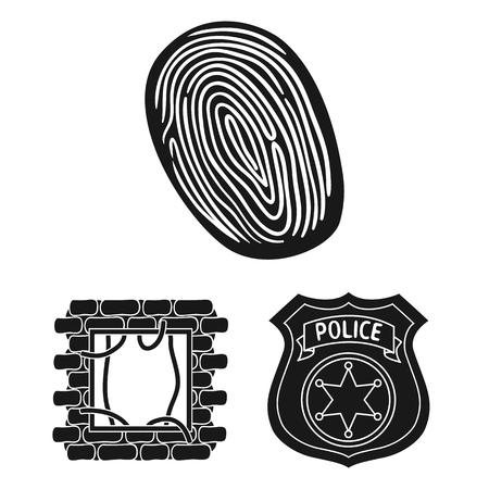 Crime and Punishment black icons in set collection for design.Criminal vector symbol stock web illustration.
