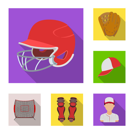 Baseball and attributes flat icons in set collection for design.Baseball player and equipment vector symbol stock web illustration.