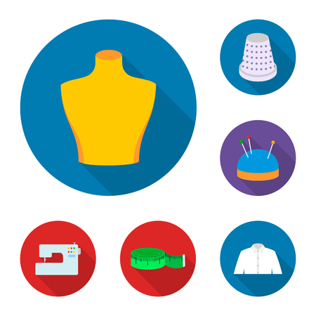 Atelier and sewing flat icons in set collection for design. Equipment and tools for sewing vector symbol stock web illustration. Illustration