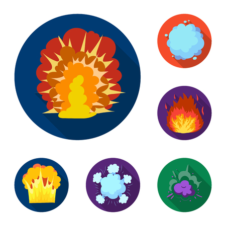 Different explosions flat icons in set collection for design.Flash and flame vector symbol stock web illustration.
