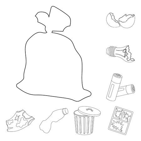 Garbage and waste outline icons in set collection for design. Cleaning garbage vector symbol stock web illustration.
