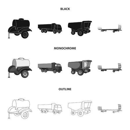 Trailer with a barrel, truck and other agricultural devices. Agricultural machinery set collection icons in black,monochrome,outline style vector symbol stock illustration web.