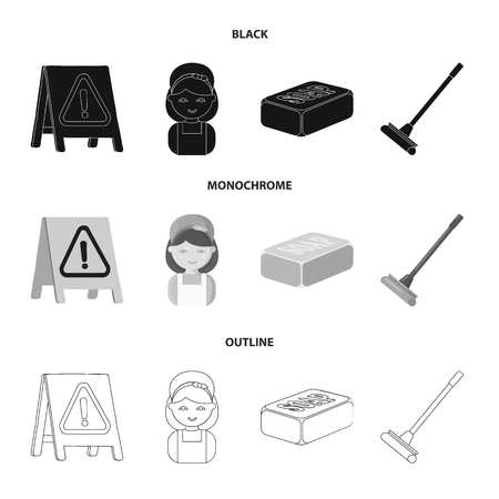 Cleaning and maid black,monochrome,outline icons in set collection for design. Equipment for cleaning vector symbol stock web illustration.
