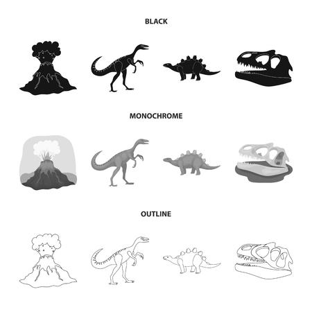 Volcanic eruption, gallimimus, stegosaurus,dinosaur skull. Dinosaur and prehistoric period set collection icons in black,monochrome,outline style vector symbol stock illustration web.