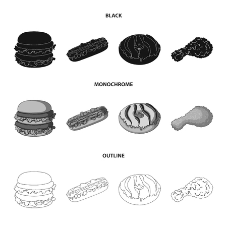 Fast ,food, meal, and other web icon in black,monochrome,outline style.Hamburger, bun, flour, icons in set collection.