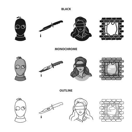 Un ladrón en una máscara, un cuchillo ensangrentado, un rehén, un escape de la prisión.Crimen configurar los iconos de la colección en negro, monocromo, web de contorno estilo vector símbolo stock de ilustración. Ilustración de vector