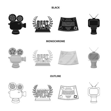 Silver camera. A bronze prize in the form of a TV and other types of prizes.Movie award,sset collection icons in black,monochrome,outline style vector symbol stock illustration web. Vector Illustratie