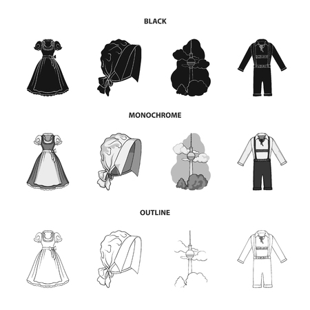 Country Germany black,monochrome,outline icons in set collection for design. Germany and landmark vector symbol stock web illustration.