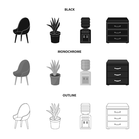 A red chair with a comfortable back, an aloe flower in a pot, an apparatus with clean water, a cabinet for office papers. Office Furniture set collection icons in black,monochrome,outline style vector symbol stock illustration web.
