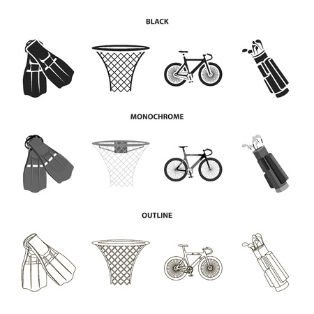 Flippers for swimming, basketball basket, net, racing holograph, golf bag. Sport set collection icons in black,monochrome,outline style vector symbol stock illustration web.