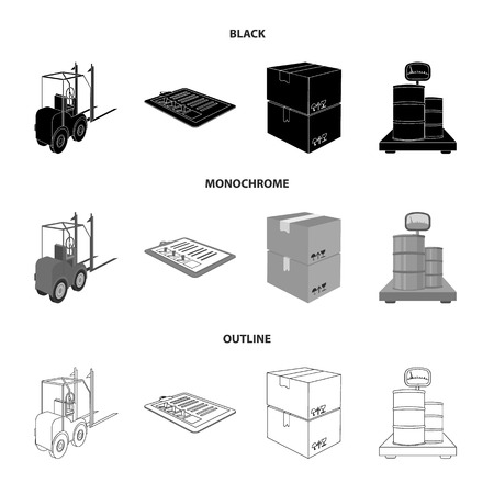 Forklift, delivery slips, packaged goods, cargo on weighing scales. Logistics and delivery set collection icons in black,monochrome,outline style isometric vector symbol stock illustration web.