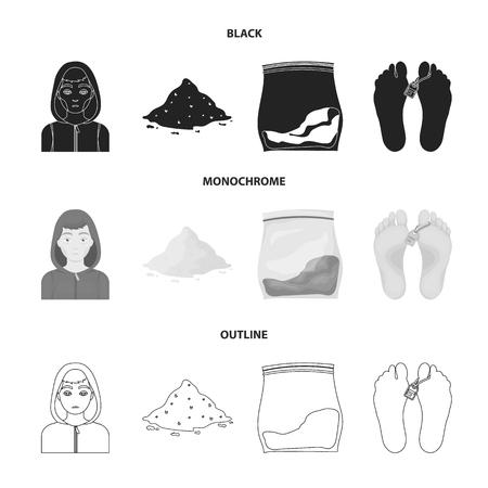 Adicto, cocaína, marihuana, cadáver. Drogas configurar los iconos de la colección en negro, monocromo, web de contorno estilo vector símbolo stock de ilustración.