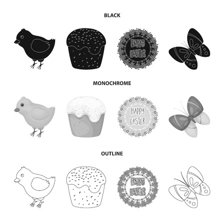 Easter cake, chicken, butterfly and greeting sign.Easter set collection icons in black,monochrome,outline style vector symbol stock illustration web.