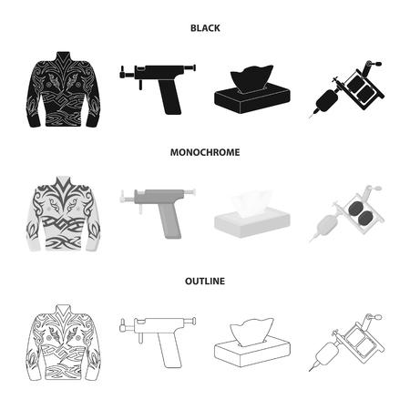 ボディタトゥー、ピアスマシン、ナプキン。入れ墨は、黒、モノクロ、アウトラインスタイルベクトルシンボルストックイラストの入れ墨セットコレクションアイコン。