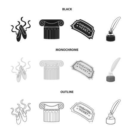 Pointe shoes, column, theater ticket, inkwell with feather. Theater set collection icons in black,monochrome,outline style vector symbol stock illustration web.